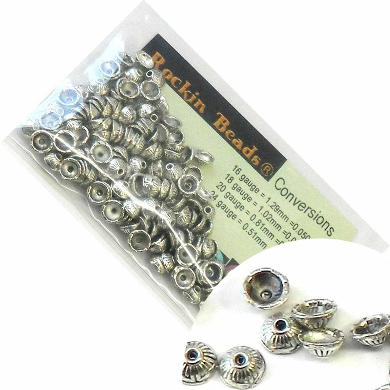 150 Antique Silver Plated Zinc Bead Caps 7mm (0.8mm Hole) RB00075