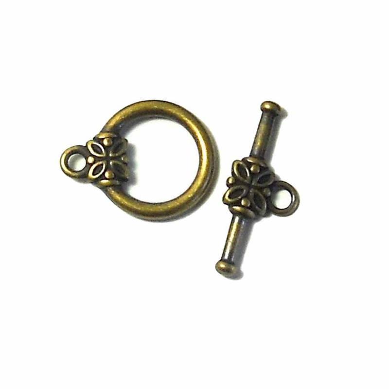 19 Antiqued Gold Plated Brass Jewelry Toggle Clasps 14mm Flower Findings 5728FY