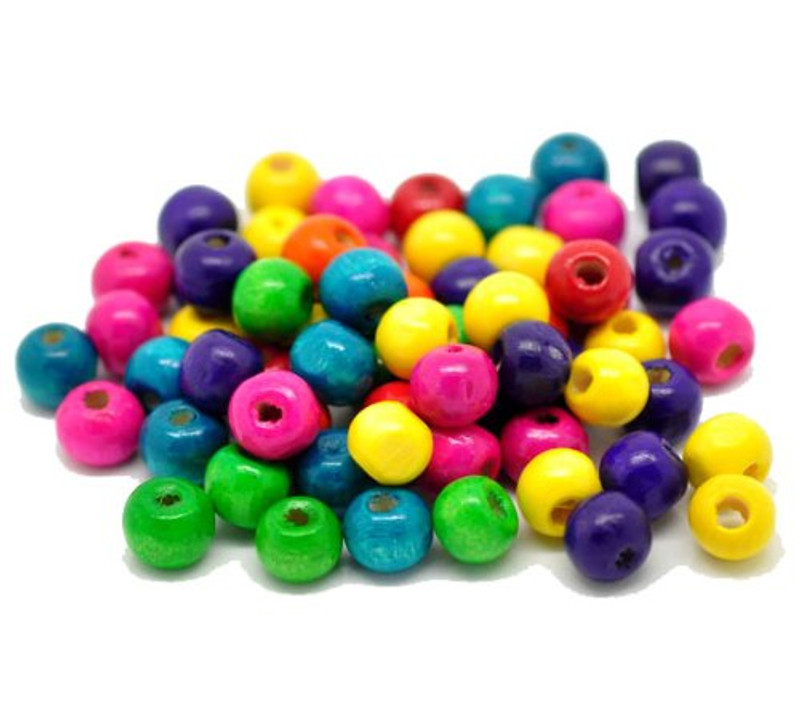 """Mixed Color Painted Wood Round Spacer Beads 8x6mm (3/8""""x1/4""""), Sold Per Pack of 1000"""