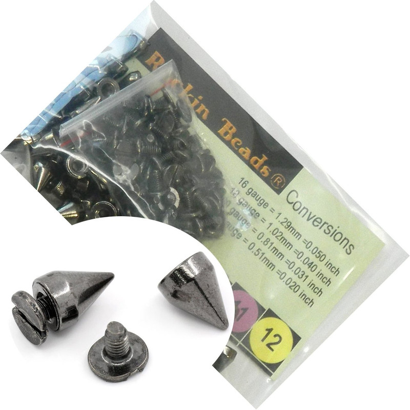 48 Sets Black Gunmetal Cone Screw on Spike Rivet Studs 10x7mm Punk Gothic or Leather Work