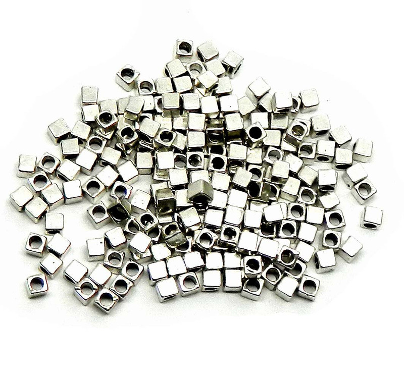 180 4x4mm Cube Antiqued Silver Beads Cast Zinc Metal Spacer Beads (Approx 2.5mm Hole)
