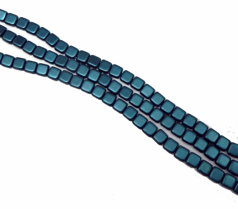 Dark Turquoise 6mm Square Glass Czech Two Hole Tile Bead 25 Beads