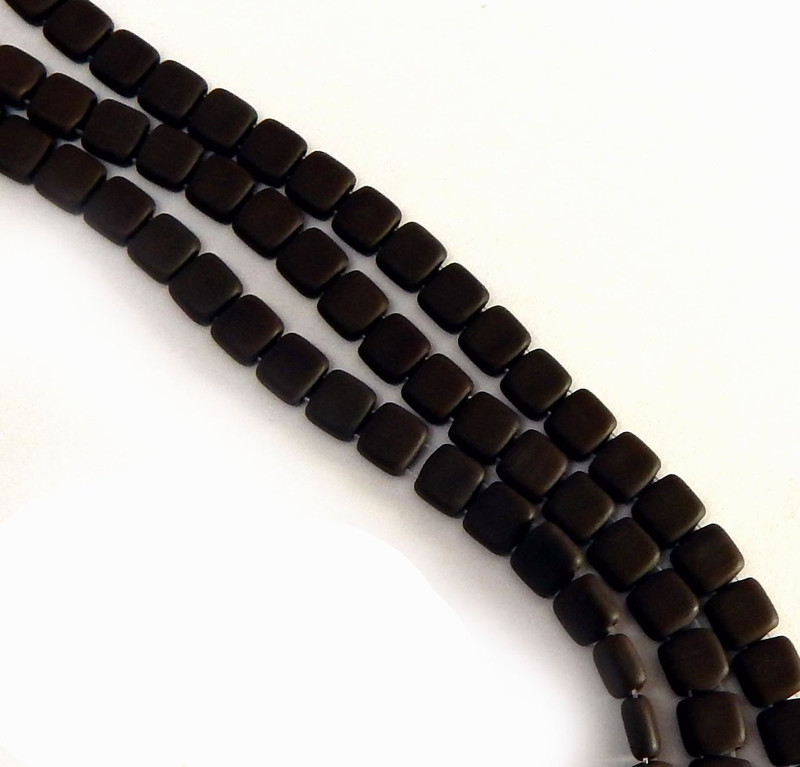 Frosty Matte Chocolate Brown 6mm Square Glass Czech Two Hole Tile Bead 25 Beads