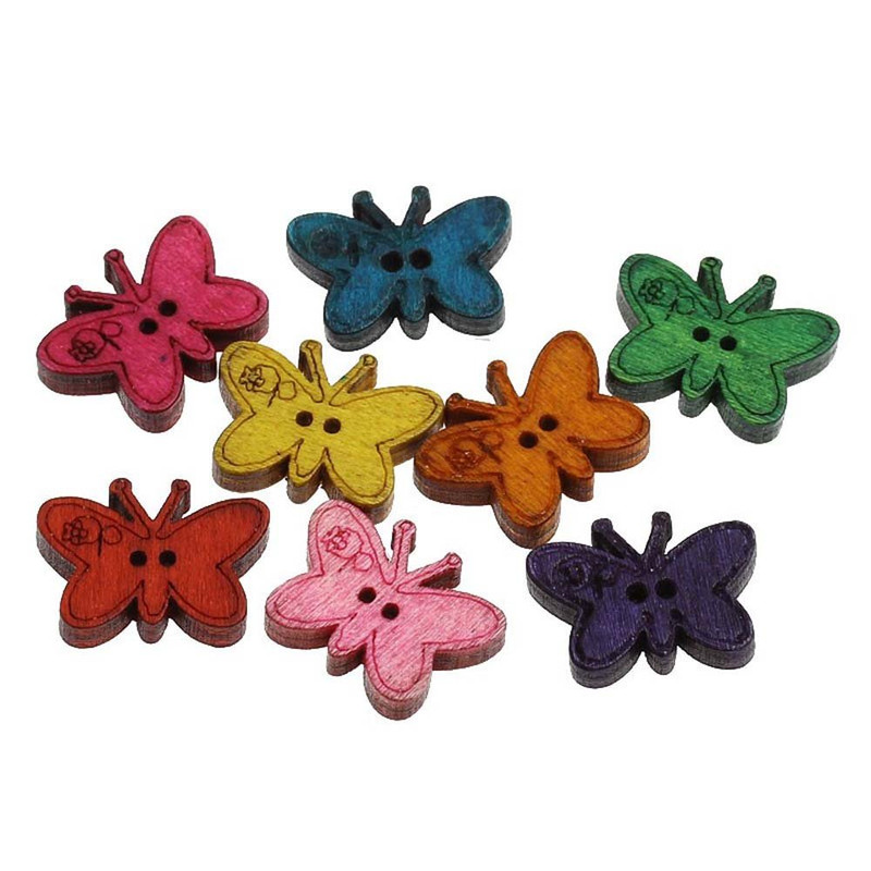 100 Wood Sewing Buttons Scrapbooking Butterfly 2 Holes Mixed Color 23x17mm