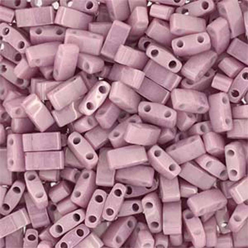 Antique Rose Luster Opaque Half Tila Beads 7.2 Gram Miuki Square 5mm 2 hole