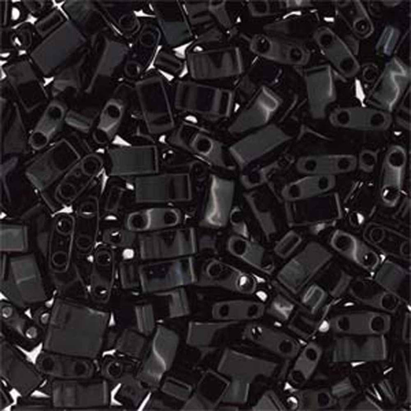 Black Half Tila Beads 7.2 Gram Miuki Square 5mm 2 hole
