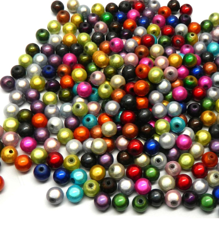 300 Miracle Acrylic Spacer Beads 8mm Round (1.9mm Hole)