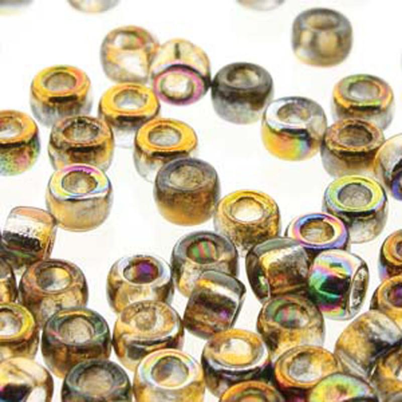 Matubo Czech Glass Seed Beads 8/0 3.1mm 50gr 1.3mm Hole Magic Orange Grey MTB08-00030-95300