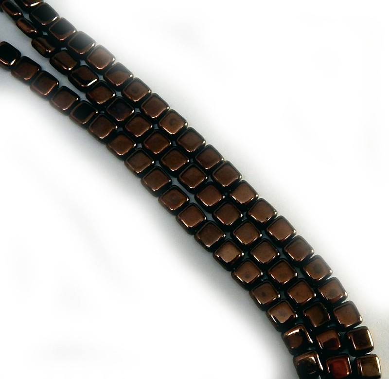 Dark Bronze Czechmate 6mm Square Glass Czech Two Hole 25 Tile Beads CZTWN06-14415