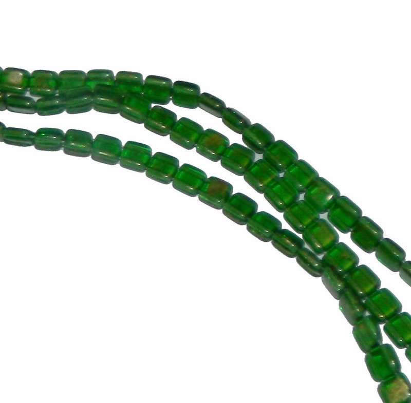 Gold Marbel Emerald Green 6mm Square Glass Czech Two Hole Tile Bead 25 Beads