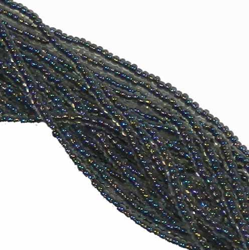 Black Lined Crystal Ab Preciosa Czech Glass 6/0 Seed Bead on Loose Strung 6 String Hank SB6-58549