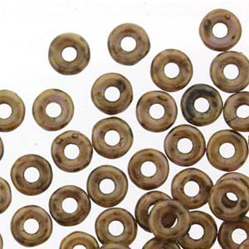 Chalk White Lilac Gold Luster O-beads 3.8x1mm Czech Glass Mini Flat Ring 8 gr