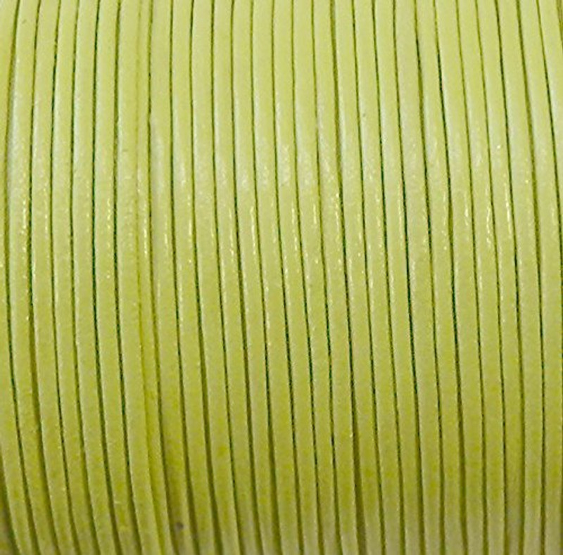 Imported India Leather Cord 2mm Round 5 Yards Chartreuse Green