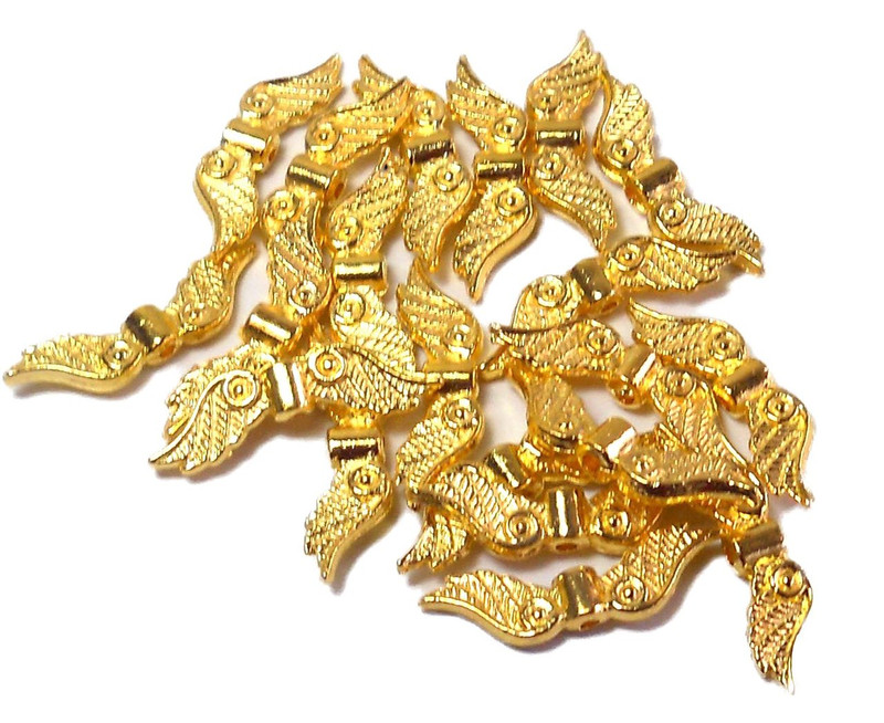 40 Angel Wings Bright Gold Coat Cast Pewter Metal Beads 1 Inch 23x6mm