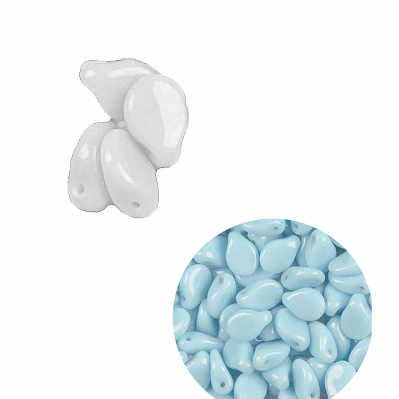 Light Blue Opaque 5x7mm Pressed Czech Glass (Petal Flower) loose strand approx 60 Beads