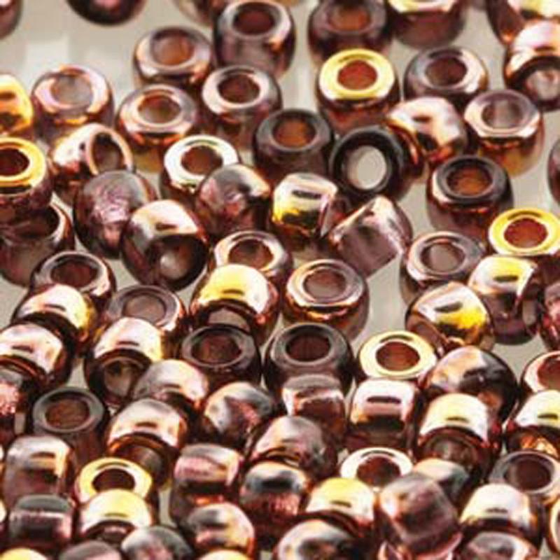 Matubo Czech Glass Seed Beads 8/0 3.1mm 50gr 1.3mm Hole Amethyst Gold Capri MTB08-20060-27101