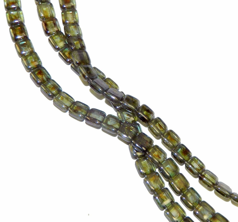 Luster Transparent Green 6mm Square Glass Czech Two Hole Tile Bead 25 Beads