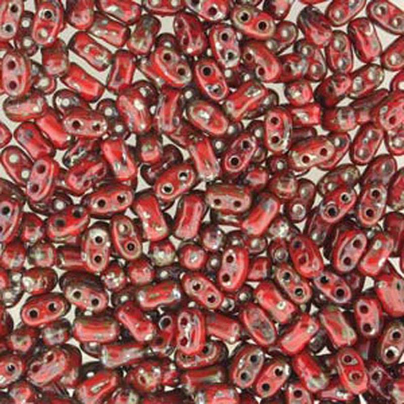 Coral Red Picasso BI-BO Czech Glass 2 hole Seed Beads 5.5x2.8mm 22gr