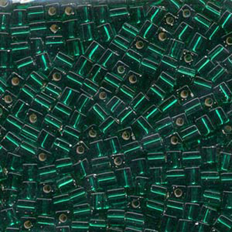 20Gr Christmass Green Silver Lined Miyuki 4mm Square Cube Glass Seed Beads