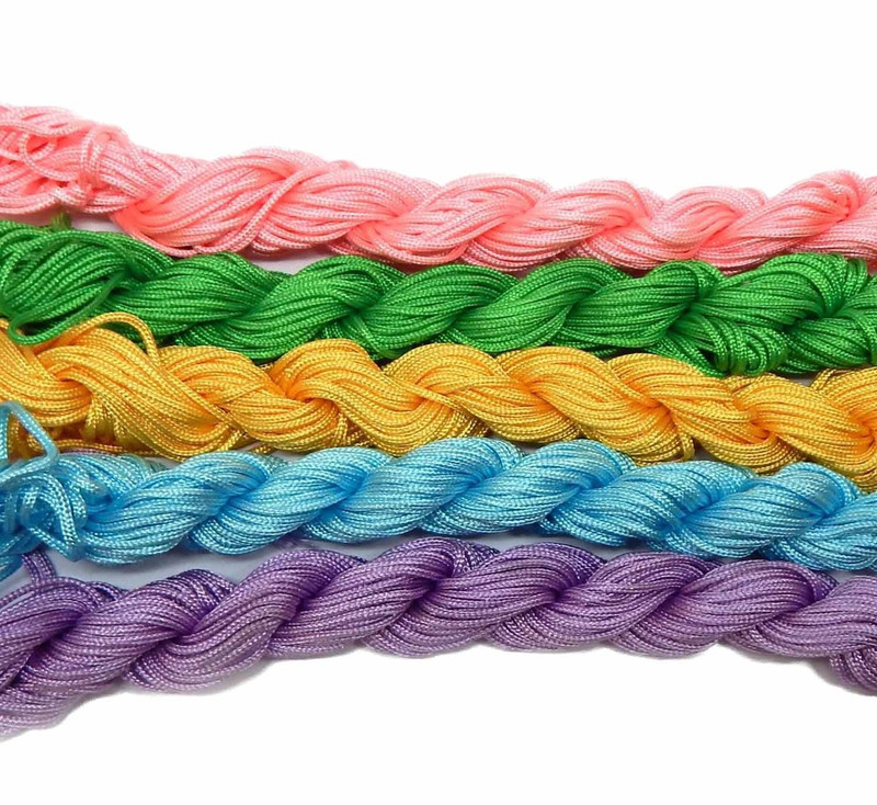 Chinese Knotting Beading Cord Mixed Approx 1.5mm 5 (12 Yard Skeins) for Crafts and Knotted Jewelry Like Shamballa Bracelets