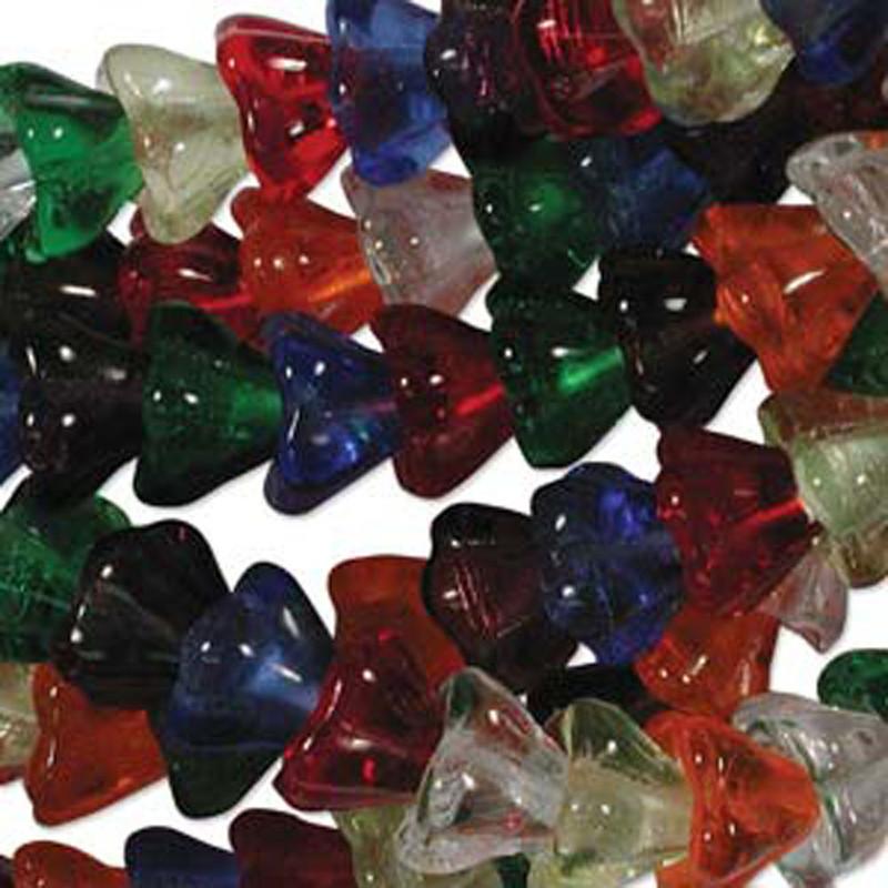 Rainbow Mix 10x13mm Flower Cone 45 Bead Cap Czech Glass Beads FLW1113MIX16