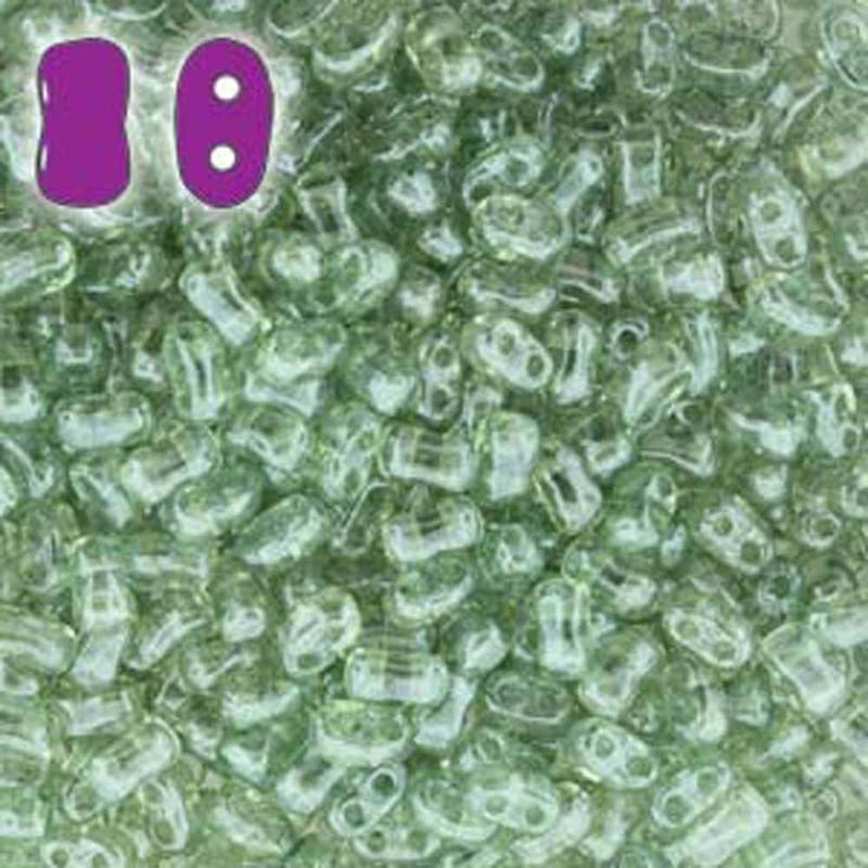 Crystal Green Luster BI-BO Czech Glass 2 hole Seed Beads 5.5x2.8mm 22gr