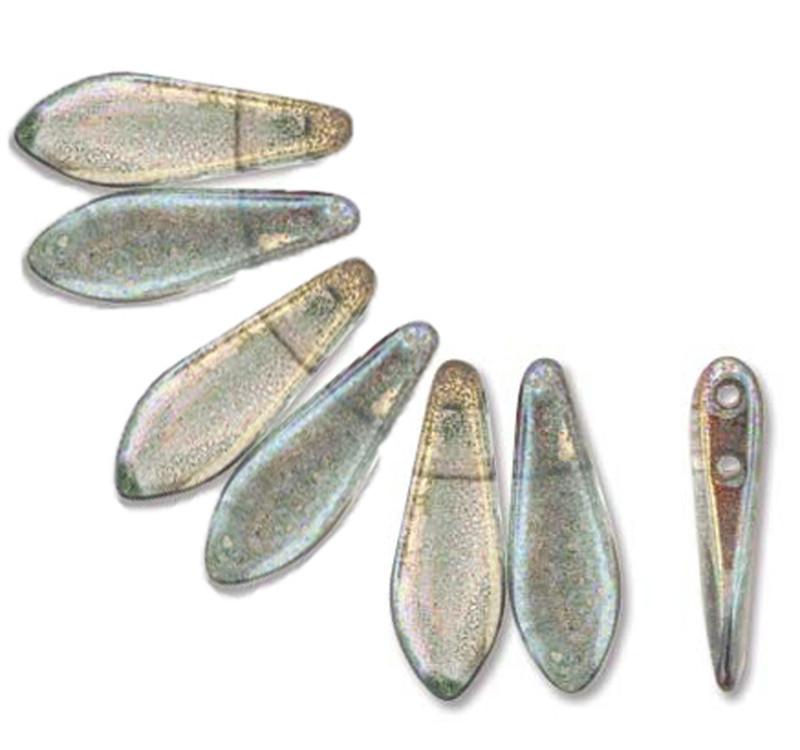 Pink Crystal Luster 50 Czech Glass Dagger Drop Beads 5x16mm 2 Hole