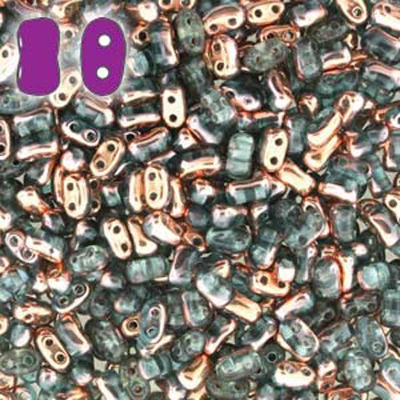 Aqua Capri Gold BI-BO Czech Glass 2 hole Seed Beads 5.5x2.8mm 22gr