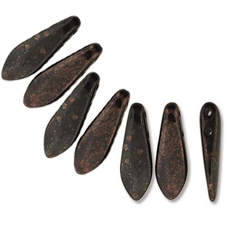 Jet Marbled Dark Bronze 50 Czech Glass Dagger Drop Beads 5x16mm 2 Hole