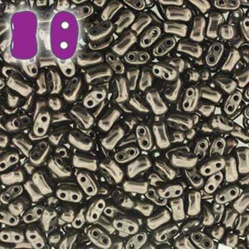 Jet Copper BI-BO Czech Glass 2 hole Seed Beads 5.5x2.8mm 22gr