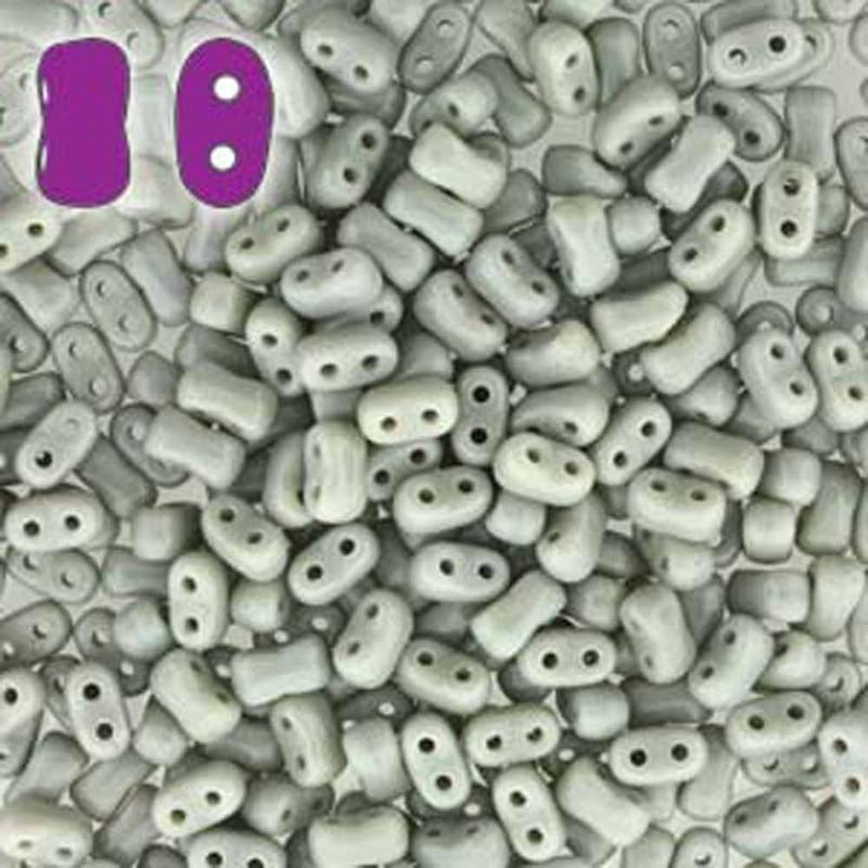 Opaque Grey BI-BO Czech Glass 2 hole Seed Beads 5.5x2.8mm 22gr