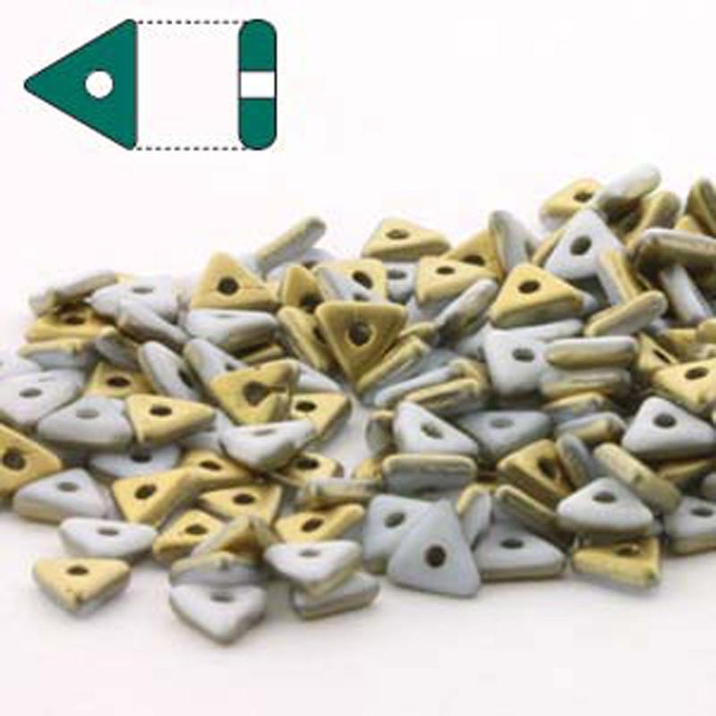 Chalk White Amber Matte Czech Glass Sead Tri Beads 4.6mmx1.3mm Thick Approx 9gr Tube