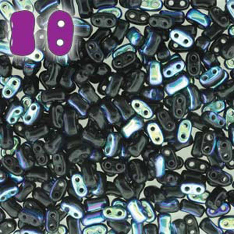Jet Ab BI-BO Czech Glass 2 hole Seed Beads 5.5x2.8mm 22gr