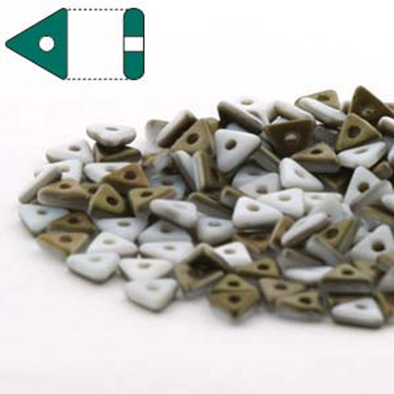 Chalk White Valentinite Matte Czech Glass Sead Tri Beads 4.6mmx1.3mm Thick Approx 9gr Tube