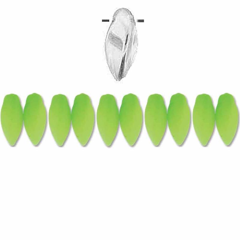 Neon Green Czech Glass Twist Beads 6x12mm Apprx 25 bead loose strand
