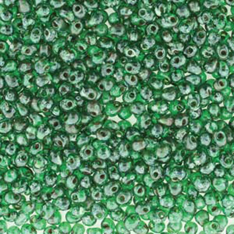 Dark Green Picasso Miyuki 3.4mm Fringe Seed Bead Glass Tear Drops 25 Gram Tube Approx 650 Beads
