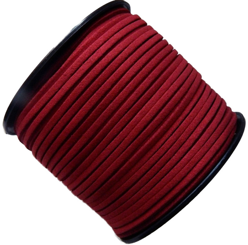 Red Micro Fiber Faux Suede 3mm 90 Yard Spool Flat Lace Beading Craft Cord