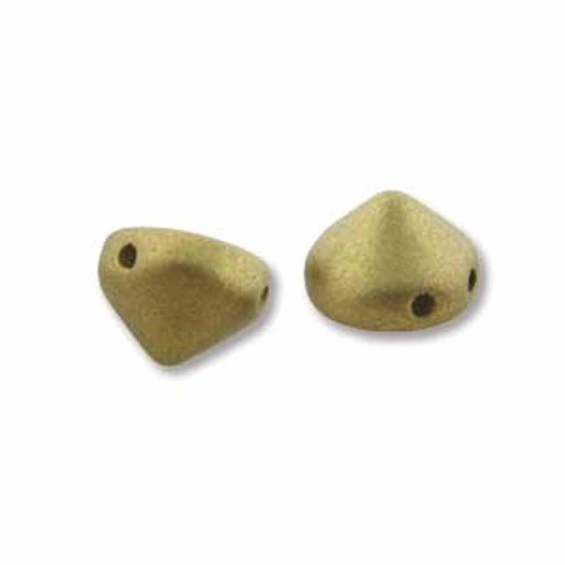 Olivine Metalic Matte 20 Czech Glass Tipp 2 Hole 8mm Chocolate Chip Beads