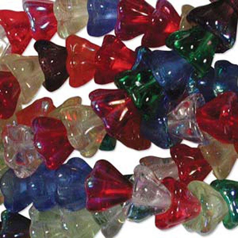 Rainbow AB Mix Mix 10x13mm Flower Cone 45 Bead Cap Czech Glass Beads FLW1113MIX17
