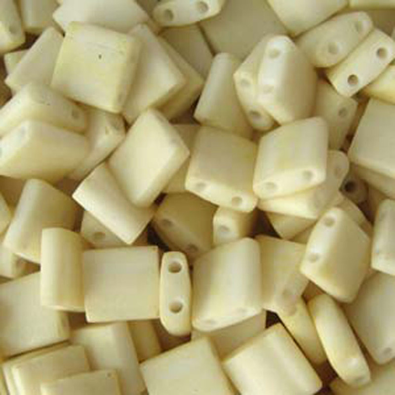 Cream Matte Miyuki Tila Beads 7.2gm 2 Hole Seed Bead 5x5mm