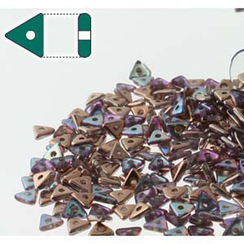 Crystal Copper Rainbow Czech Glass Sead Tri Beads 4.6mmx1.3mm Thick Approx 9gr Tube