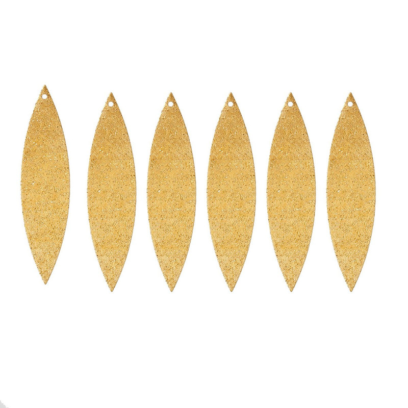 25 Brass Plated Alloy Metal Stamping Blanks Leaf Sparkle Drop 50x12mm