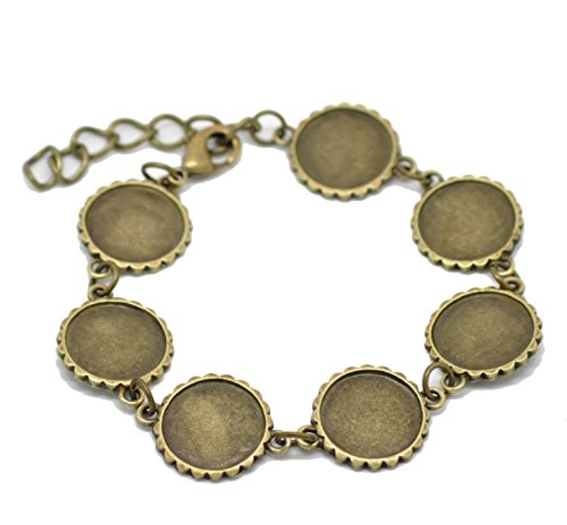 2 Antiqed Brass Round Fits 16mm Cabochons Setting Disk Bracelets 8""