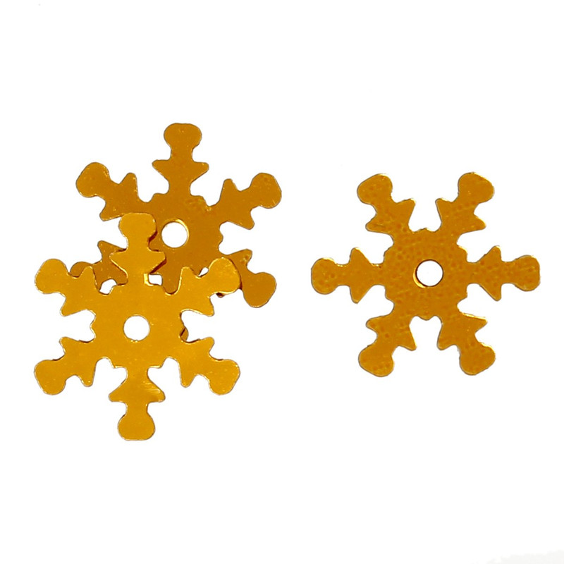 800 Gold Snowflake Sequins for Sewing Card Making Scrapbooking Crafts 13mm RB42514