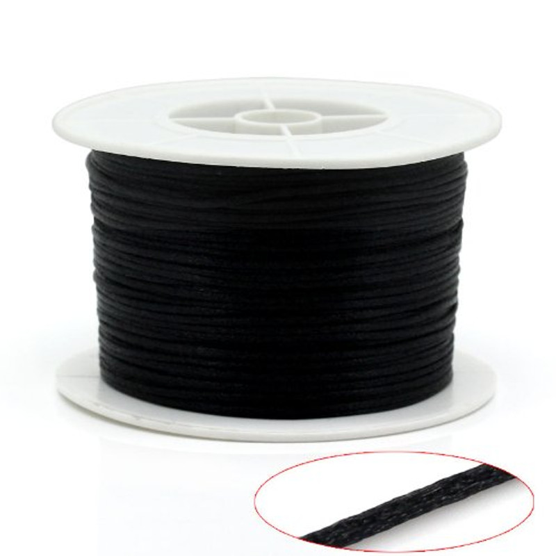 1mm Black Nylon Jewelry Macrame Craft Cord 100 Yard Spool