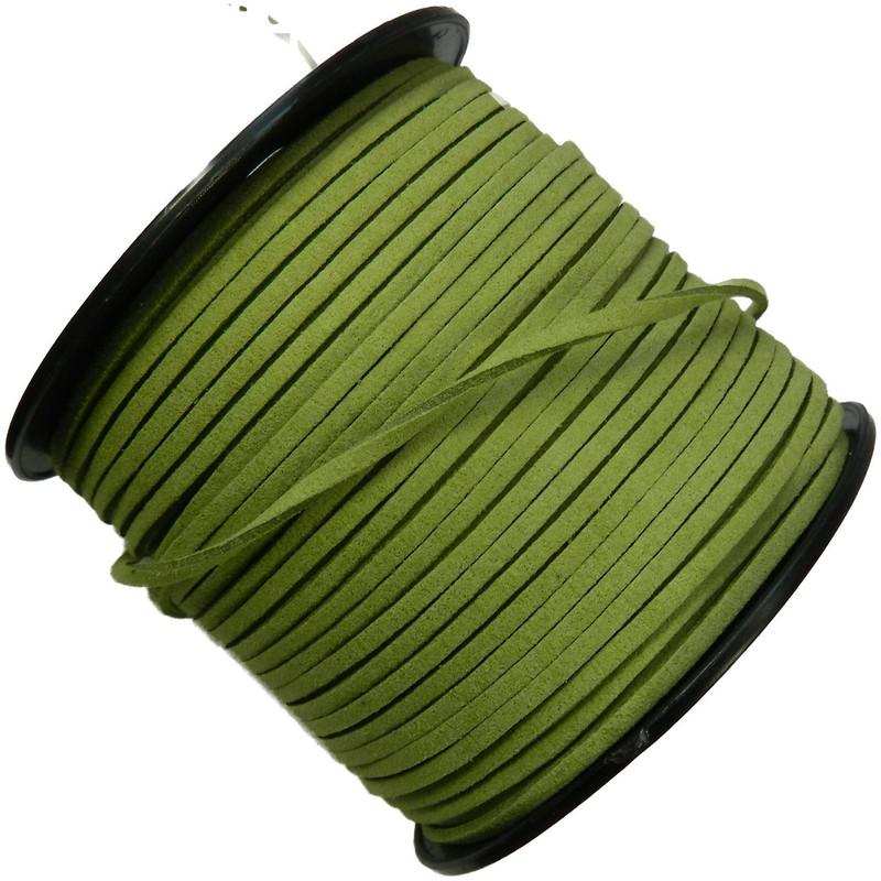 Green Micro Fiber Faux Suede 3mm 90 Yard Spool Flat Lace Beading Craft Cord
