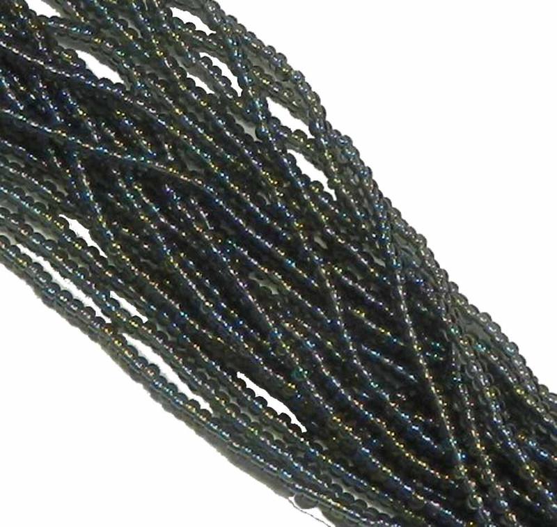 Black Diamond AB Transparent Preciosa Czech Glass 6/0 Seed Bead on Loose Strung 6 String Hank SB6-41010