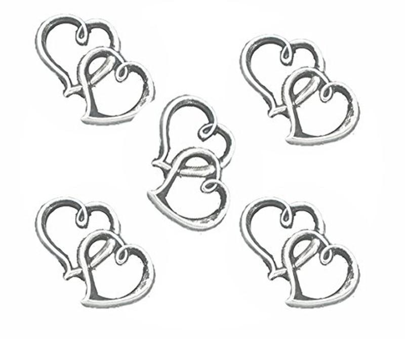 18 Charm Pendants Beads 2 Open Heart Antique Silver 32x25mm RB05054
