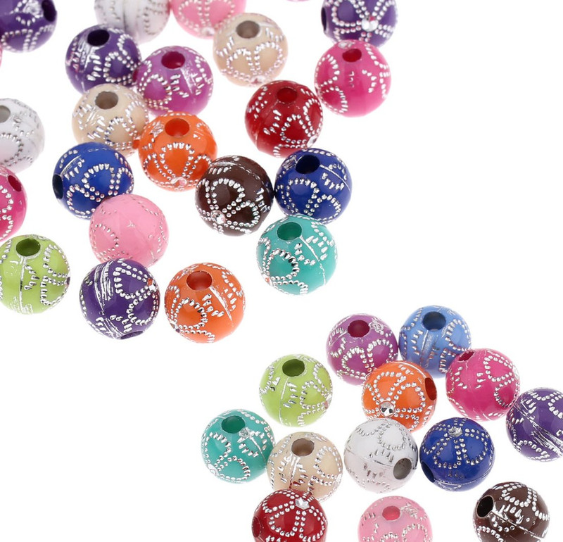 180 Acrylic Spacer Beads Round Random Mix Flower Pattern 10mm Round Hole 2.8mm