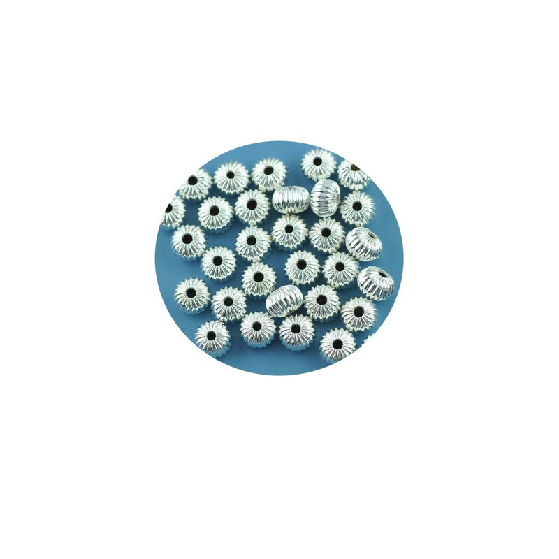 90 Silver Plated Metal Alloy 8x6mm Corrugated Saucer Spacer Beads 1mm Hole